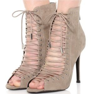 Kendall + Kylie Ginny Suede Caged Thin Laces Heels